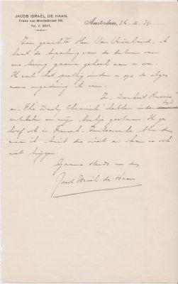 HAAN, Jacob Israël de - Handgeschreven brief aan 'Zeer geachte Heer [Victor] Van Vriesland'.