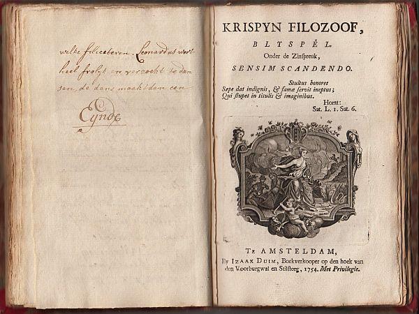 THEATER - Convoluut van twee toneelstukken in druk, en twee korte bijspelen in handschrift, in één band (1754-1761).