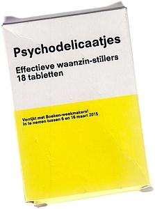 BOEKENWEEK 2015 - Psychodelicaatjes. Effectieve waanzin-stillers. 18 tabletten. Verrijkt met Boeken-weekmakers! In te nemen tussen 6 en 16 maart 2015.
